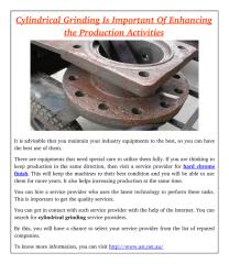 Cylindrical Grinding Is Important Of Enhancing the Production Activities.pdf
