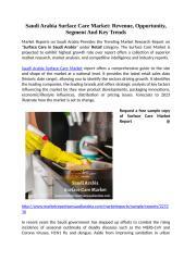 Saudi Arabia Surface Care Market Revenue, Opportunity, Segment And Key Trends.docx