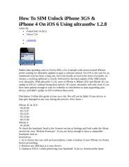 How To SIM Unlock iPhone 3GS & iPhone 4 On iOS 6 Using ultrasn0w 1.2.8.doc